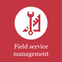 Burgundy icon for supply chain: Field service management