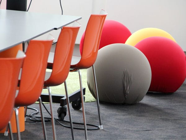 Office with chairs and coloured balls